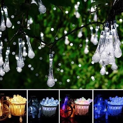 Dây đèn led hình giọt nước thả ngoài trời
